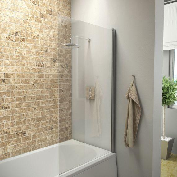 1400 Hinged Square Bath Screen Single Panel