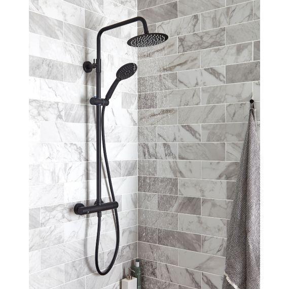 Matt Black Thermostatic Round Dual Shower and Diverter