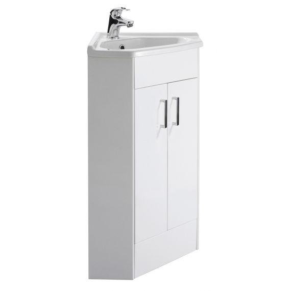 Mayford Gloss White 2 Door Corner Cabinet & Basin 1TH