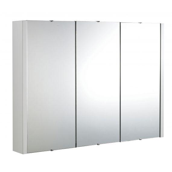 Nuie Eden Gloss White 900mm Mirror Cabinet