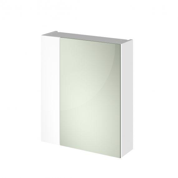 Nuie Gloss white 600mm Mirror Unit (75/25)