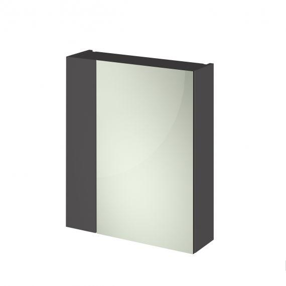 Hudson Reed Fusion Gloss Grey 600mm Mirror Unit (75/25)