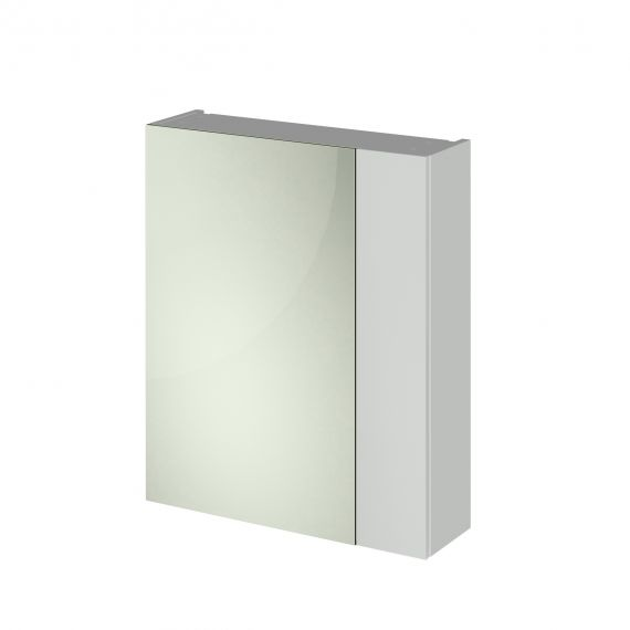 Nuie Gloss Grey Mist 600mm Mirror Unit (75/25)