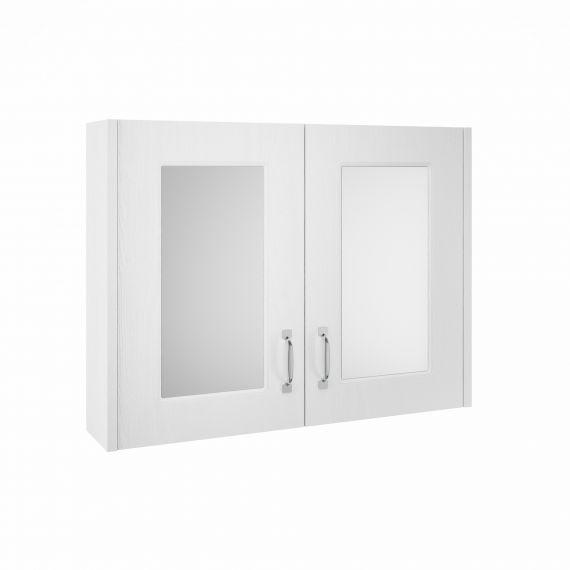 Nuie York White Ash 800mm Mirror Cabinet