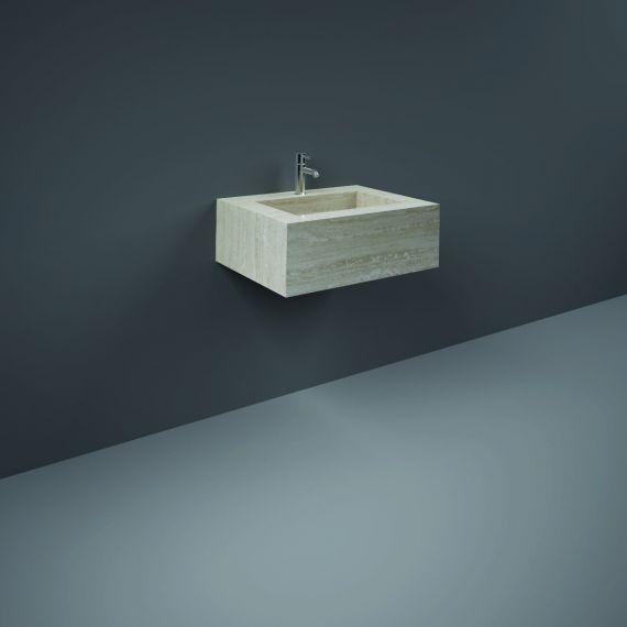 RAK-Precious 600mm Wall Mounted Counter Wash Basin with 0th in Travertino Ivory