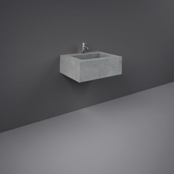 RAK-Precious 600mm Wall Mounted Counter Wash Basin with 0th in Surface XL Cool Grey
