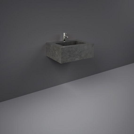 RAK-Precious 600mm Wall Mounted Counter Wash Basin with 1th in Behind Grey