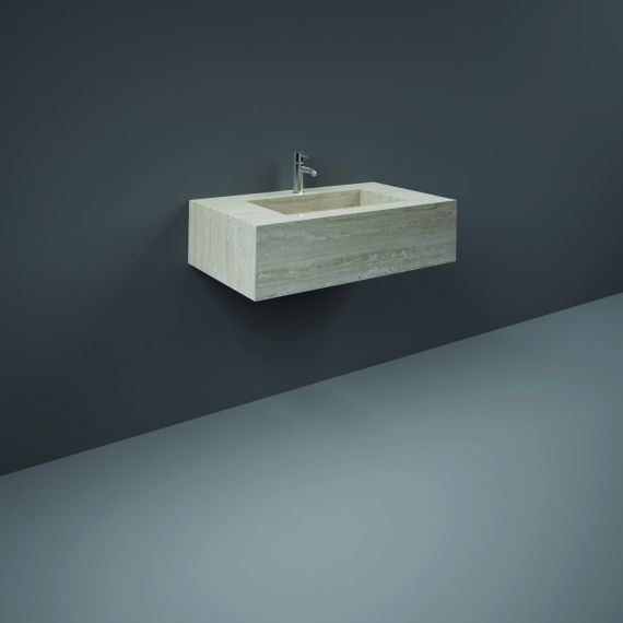 RAK-Precious 800mm Wall Mounted Counter Wash Basin with 0th in Travertino Ivory