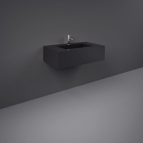 RAK-Precious 800mm Wall Mounted Counter Wash Basin with 0th in Uni Dark Black