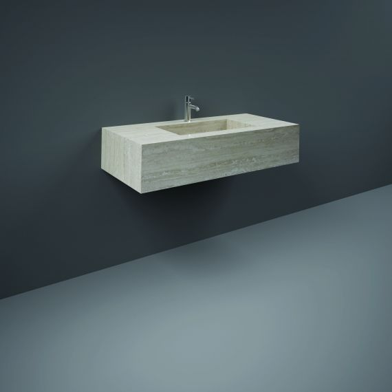 RAK-Precious 1000mm Wall Mounted Counter Wash Basin with 1th in Travertino Ivory