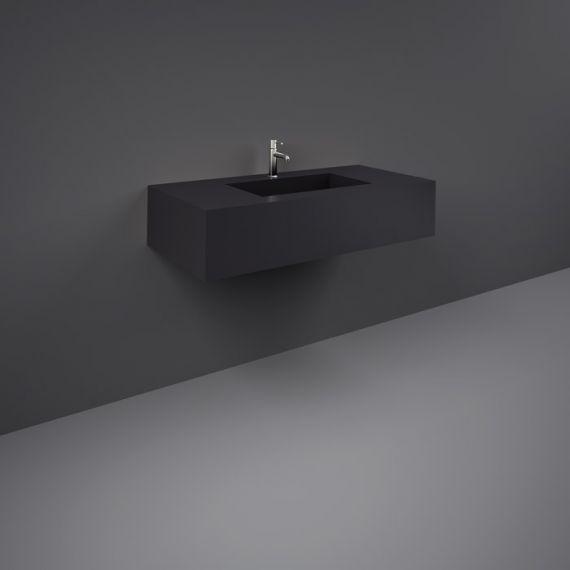 RAK-Precious 1000mm Wall Mounted Counter Wash Basin with 1th in Uni Dark Black