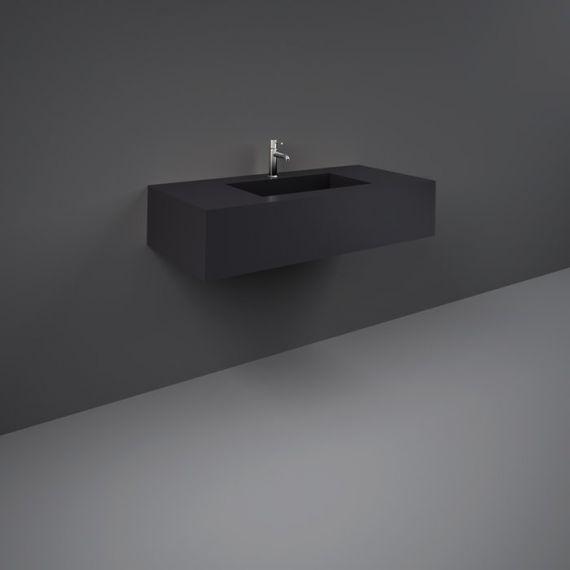 RAK-Precious 1000mm Wall Mounted Counter Wash Basin with 0th in Uni Dark Black