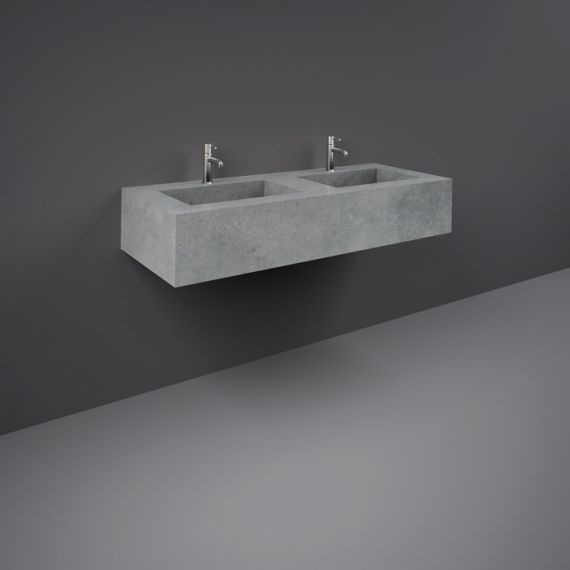 RAK-Precious 1200mm Wall Mounted Counter Wash Basin with 1th in Surface  XL Cool Grey