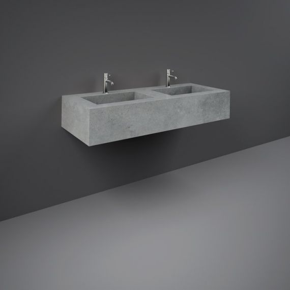 RAK-Precious 1200mm Wall Mounted Counter Wash Basin with 0th in Surface  XL Cool Grey