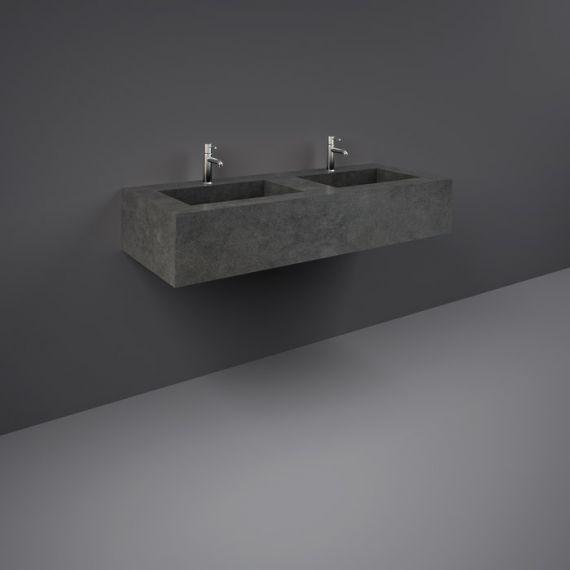 RAK-Precious 1200mm Wall Mounted Counter Wash Basin with 1th in Behind Grey