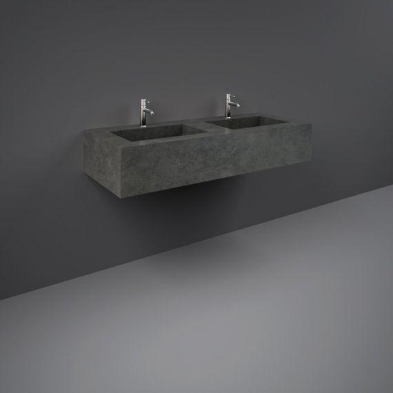 RAK-Precious 1200mm Wall Mounted Counter Wash Basin with 0th in Behind Grey