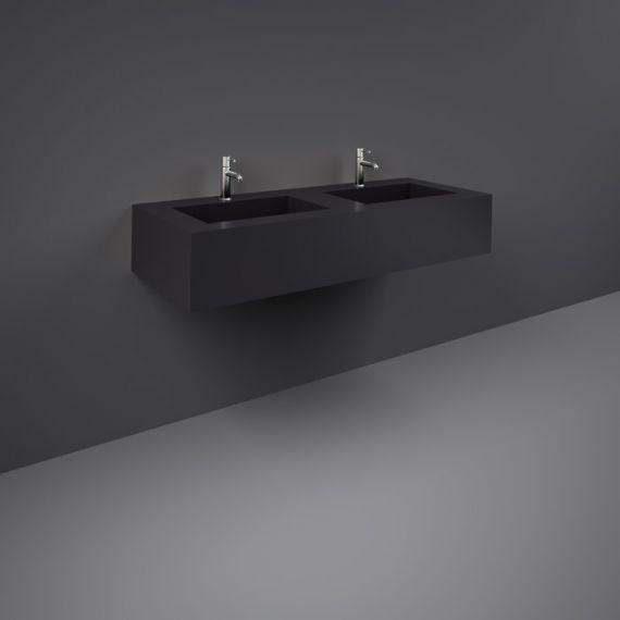 RAK-Precious 1200mm Wall Mounted Counter Wash Basin with 1th in Uni Dark Black