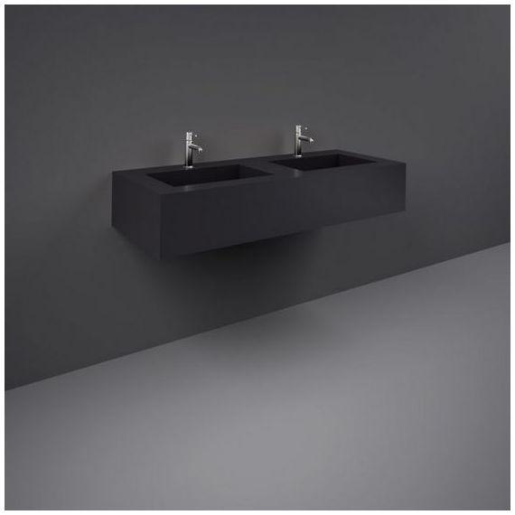 RAK-Precious 1200mm Wall Mounted Counter Wash Basin with 0th in Uni Dark Black