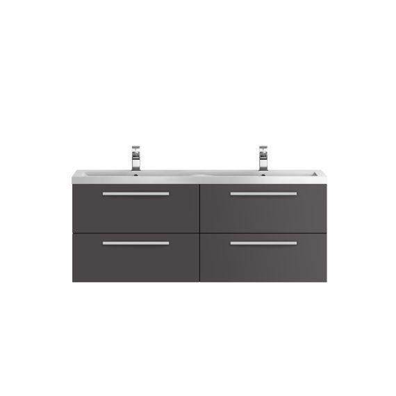 Hudson Reed Quartet Gloss Grey 1440mm Double Cabinet & Basin