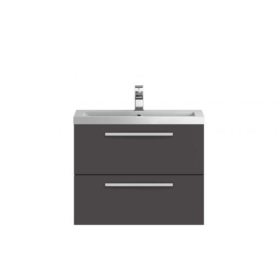 Hudson Reed Quartet Gloss Grey 720mm Wall Hung Cabinet & Basin