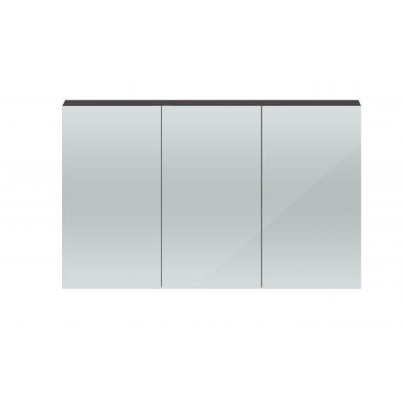 Hudson Reed Quartet Gloss Grey 1350mm Mirror Cabinet