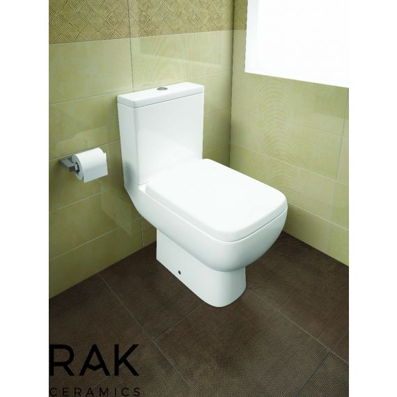RAK-Series 600 Close Coupled Open Back WC Pan, Cistern and Wrap Over Quick Release Soft Close Seat