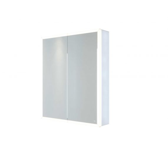 RAK-Pisces 600x700 LED Illuminated Mirrored Cabinet with demister,shavers socket and infra red switch