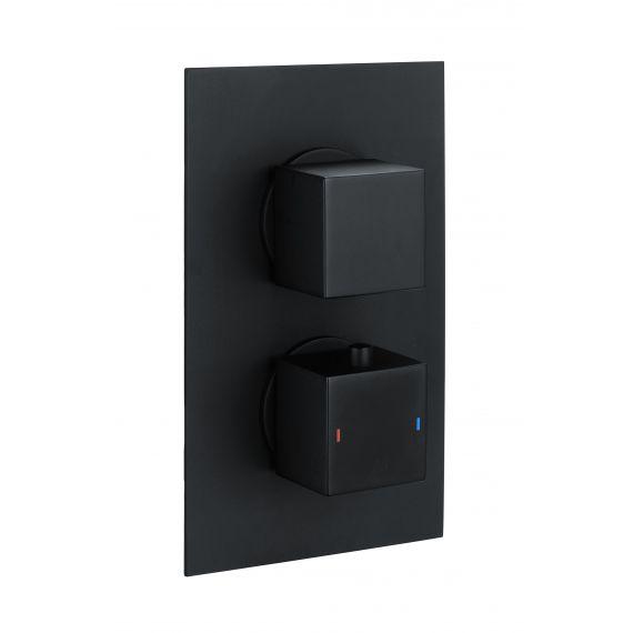DC Concealed Dual Outlet Shower Valve Black Square