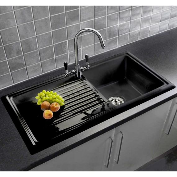 Reginox Ceramic RL404CB Black Integrated Single Bowl and Drainer