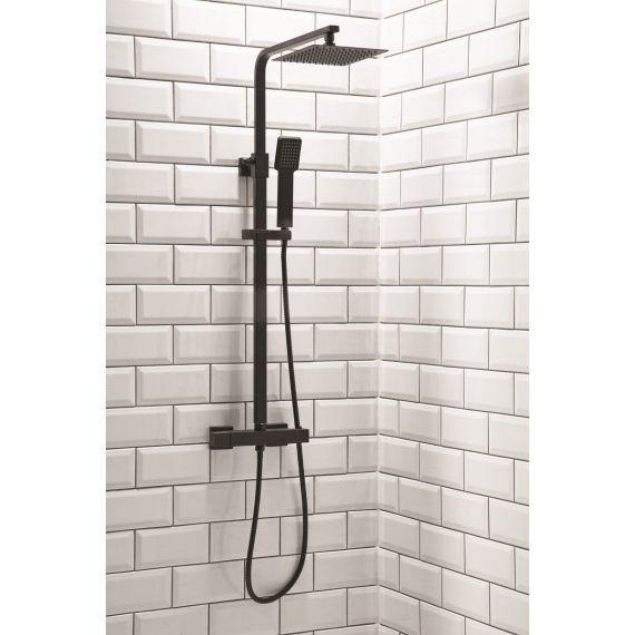 Black Thermostatic Rigid Riser Shower