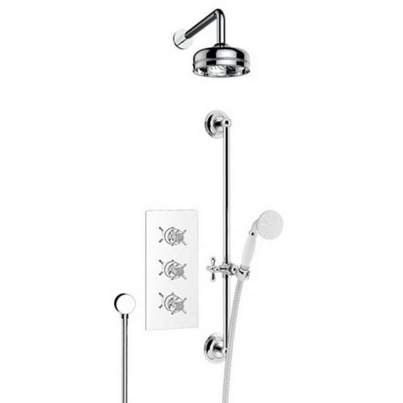 Heritage Dawlish Shower Valve with Deluxe Fixed Head & Flexible Kit with Vintage Gold Finish