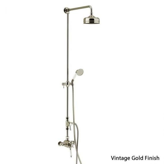 Heritage Dawlish Exposed Shower With Premium Fixed Riser Kit Vintage Gold SDCDUAL08