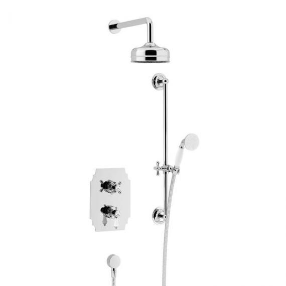 Heritage Glastonbury Recessed Shower with Premium Fixed Head Flexible Riser Kit Chrome SGDUAL03