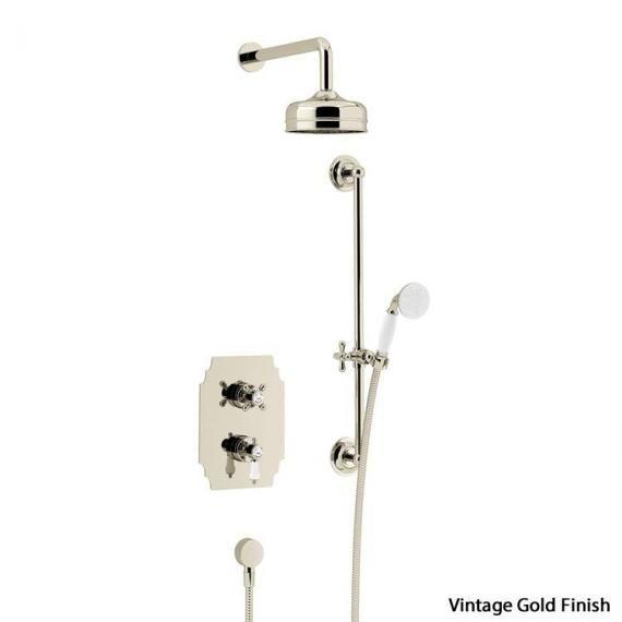 Heritage Glastonbury Recessed Shower with Premium Fixed Head Flexible Riser KitVintage GoldSGDUAL04