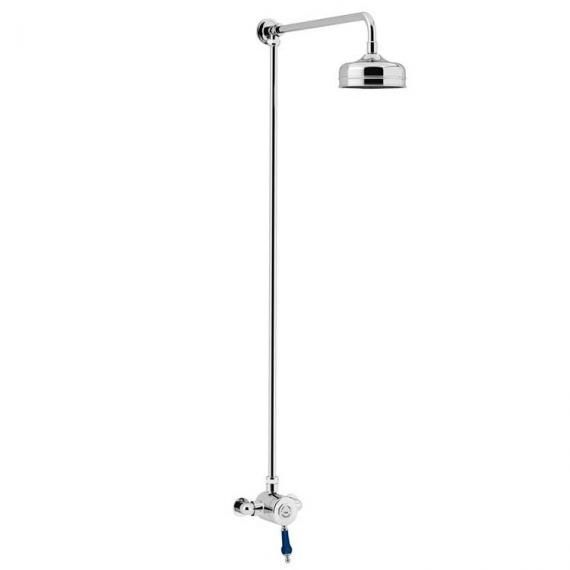 Heritage Glastonbury Exposed Shower With Midnight Blue Handle & Premium Fixed Riser Kit SGRBLSIN01