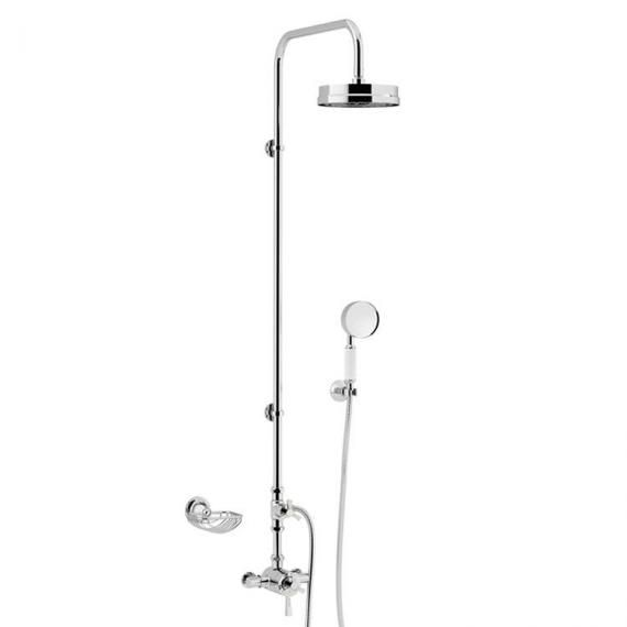 Heritage Gracechurch Exposed Shower with Deluxe Fixed Riser Kit Diverter to Handset Chrome SGRDDUAL04
