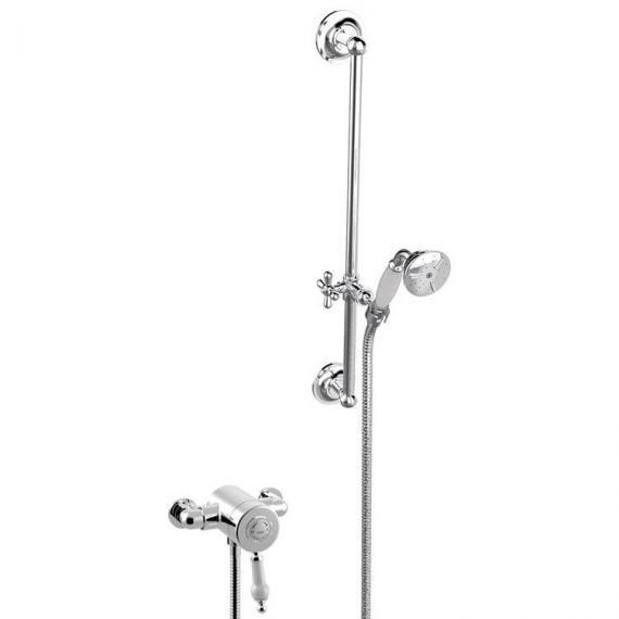 Heritage Glastonbury Exposed Shower with Premium Flexible Riser Kit Chrome SGSIN05