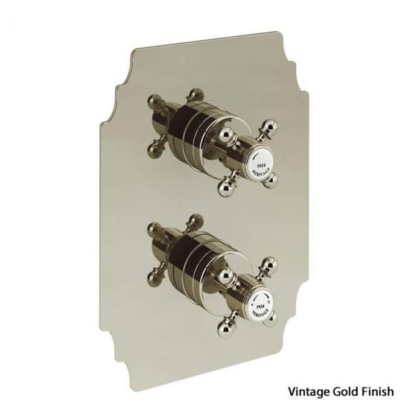 Heritage Hartlebury Recessed Thermostatic Vintage Gold Shower Valve with 2 Outlets SHDA03