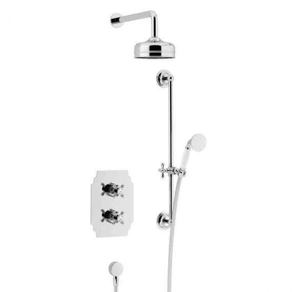Heritage Hartlebury Recessed Shower Premium Fixed Head , Flexible Riser Kit Chrome