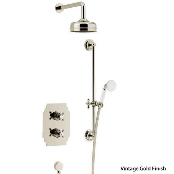 Hartlebury Recessed Shower Premium Fixed Head, Flexible Riser Kit Vintage Gold
