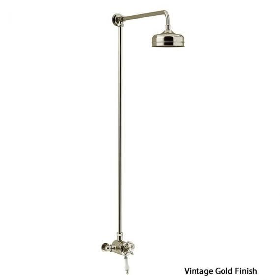 Heritage Hartlebury Exposed Shower with Premium Fixed Riser Kit Vintage Gold SHDDUAL08
