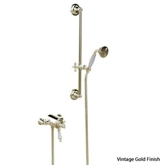 Heritage Hartlebury Exposed Shower with Premium Flexible Riser Kit Vintage Gold SHDDUAL10