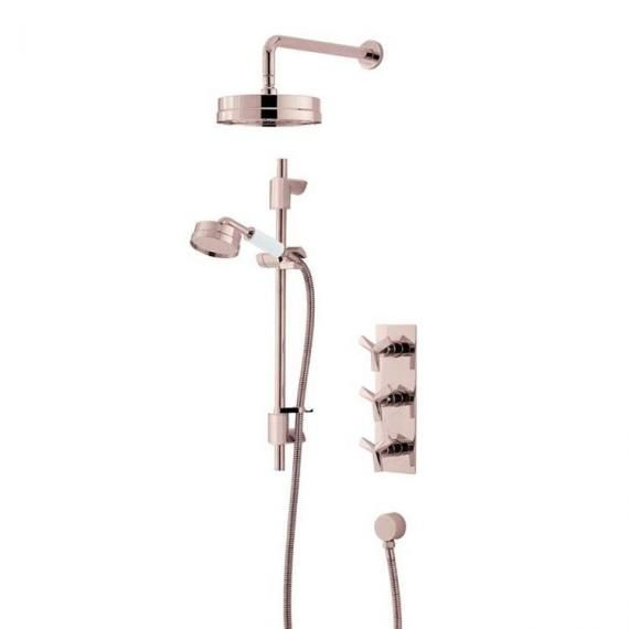 Heritage Hemsby Rose Gold Shower with Deluxe Fixed Head & Flexible Kit SHPRGDUAL01