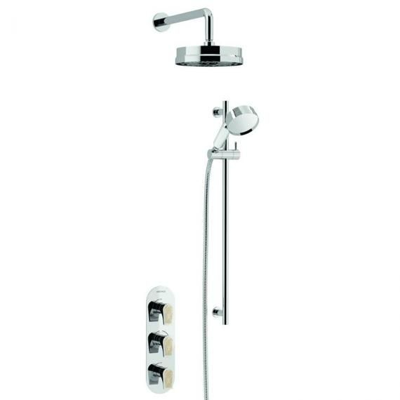 Heritage Lymington Lace Gold Recessed Shower Deluxe Fixed Head and Flexible Kit