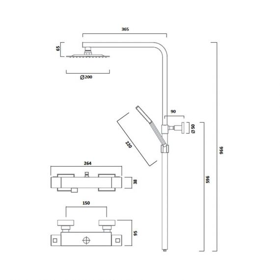 Tavistock Index Cool Touch Thermostatic Dual Function Bar Valve Shower System