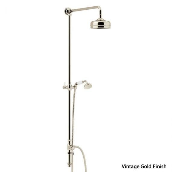 Heritage Fixed Vintage Gold Rigid Riser with Rose and Handset Kit STA15