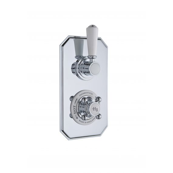 Hudson Reed White Topaz Twin Concealed Shower Valve with Diverter