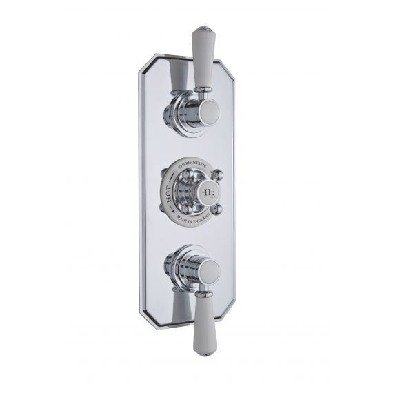 Hudson Reed White Topaz Triple Concealed Shower Valve with Diverter