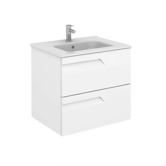 Frontline Vitale 600mm Slimline 2 Drawer Wall Unit - Gloss White with Basin