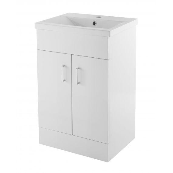 Eden Gloss White 500mm Floor Standing Cabinet & Minimalist Basin 1TH